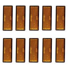10 ชิ้น/เซ็ต Self กาว Amber สีส้มรูปสี่เหลี่ยมผืนผ้ายาว Reflectors รถพ่วงรถอุปกรณ์เสริม
