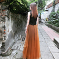 Новая Мода 2 слоя Длинные Марлевые Вуаль Макси Мусульманин Юбка женская Пят Тюль Юбки Девушки Saia Femininas 2 шт.