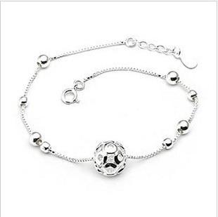 Fashion 925 Silver Ball Anklets for Women Hot Sale Sterling Silver Jewelry Girls Gift Joyas De Plata 925