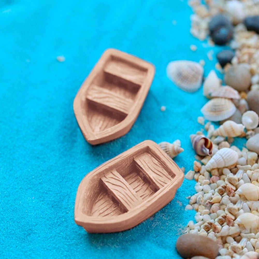 2 adet/takım yeni reçine el sanatları Retro ahşap tekne modeli figürü oyuncak mikro bahçe dekorasyon süsler terraryumlar/minyatür DIY aksesuarları