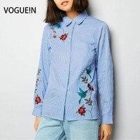 VOGUE! N New Womens Ladies Striped Imprimir Pássaro Floral Bordado Camisa com Botões Blusa Tops Tamanho SML Atacado