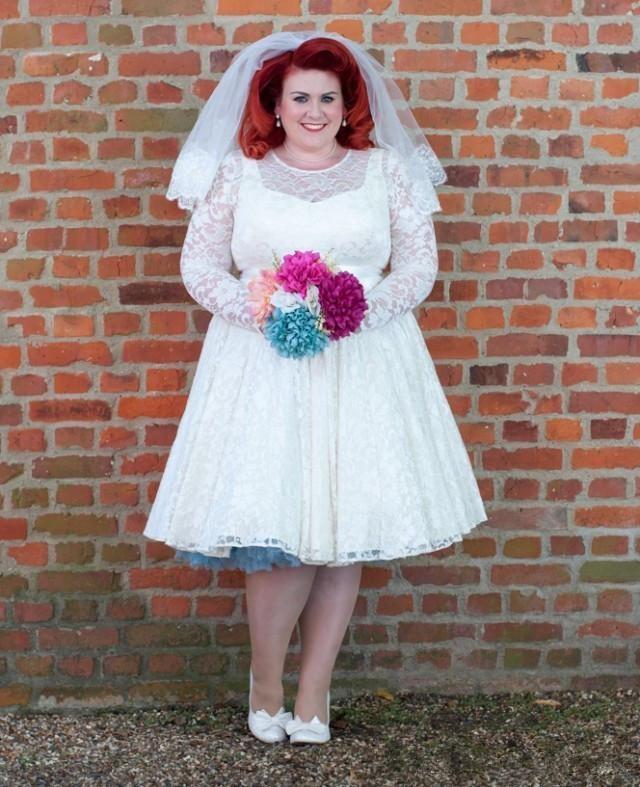 Plus Size Lace 50s Vintage Short Tea Length Wedding