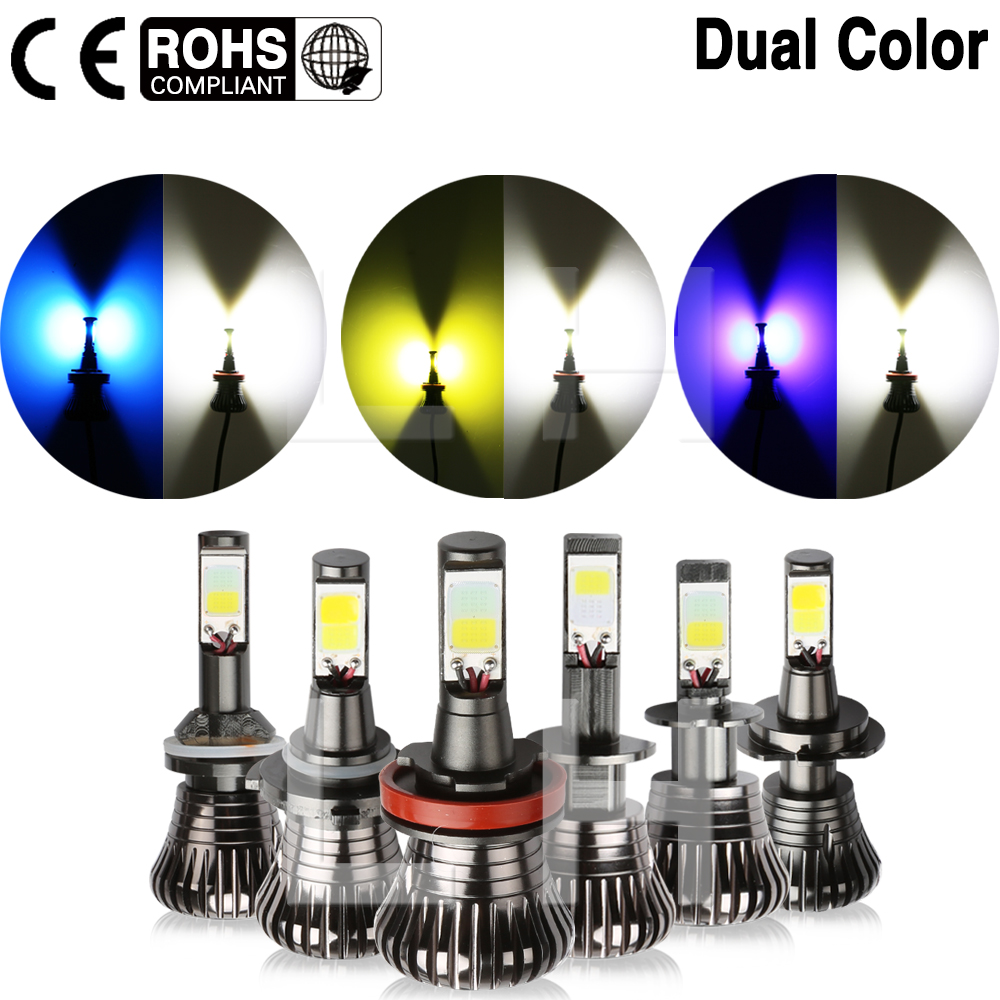 COB Chip White 6000K LED Headlamp Fog Driving Lamp White Blue Dual Color 12V H1 H3 H7 H11 H8 H9 HB3 HB4 9005 9006 880 881