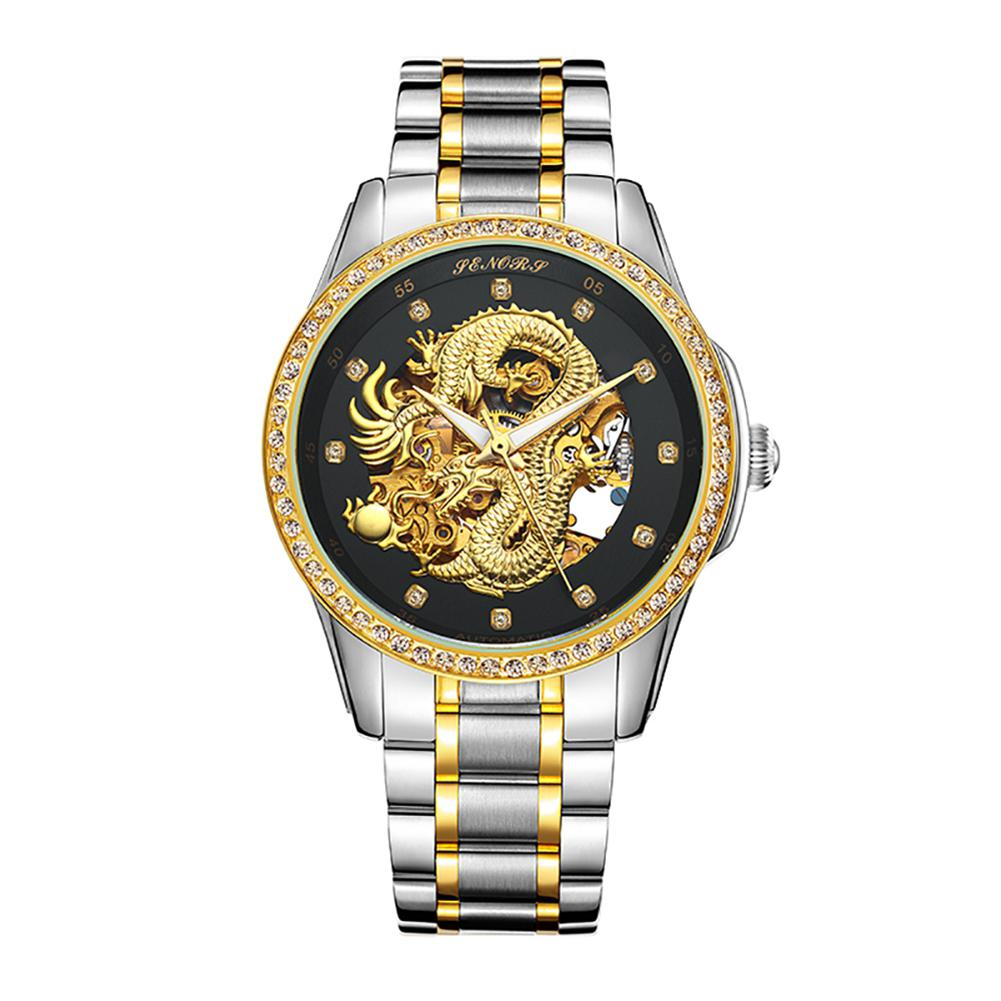 LinTimes Fashionable Men Hollow-out Watch with Mechanical Movement Stylish Wrist Watch Ornament Gift fashionable strapless hollow out bodycon dress for women