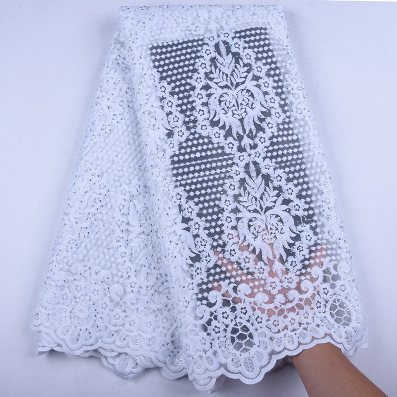 2019 Pure White Milk Tulle African Lace Fabric Embroidered Nigerian Lace Fabric High Quality French Lace