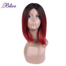 Blice Synthetic African American Bob Wig For Women Short Straight Wig Imported High Temperature Fiber Ombre Color #T1B/Burgundy(China)