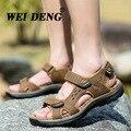 2016 Verano Playa Sandalias de Cuero Genuino Hombres Zapatos Casual Hombres Zapatillas Sandalias de Los Hombres Grandes del Tamaño Nuevo Cuero Suave