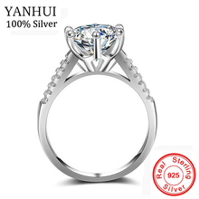 YANHUI Luxury Big 10mm Stone Zirconia Jewelry Rings For Women Pure 925 Solid Silver Bride Clas...