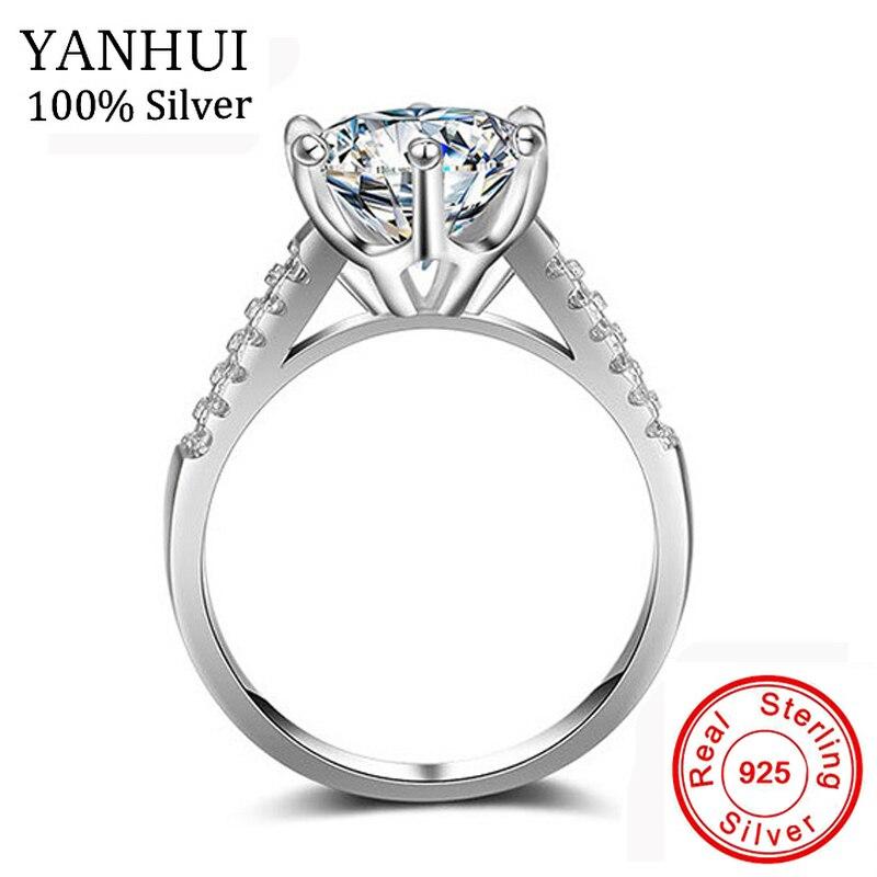 Yanhui lujo grande 10mm piedra zirconia joyería Anillos para las mujeres Pure 925 Plata sólida novia clásico anillo de compromiso de la boda jz039