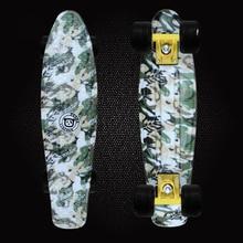 2016 Mini Cruiser Camouflage Printed Plastic Skateboard 22inch Retro Longboard Truck Skate Long Board Deck Skate Board PD08