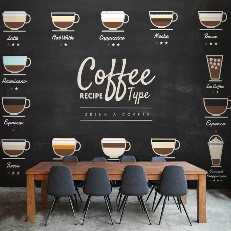 Custom Photo Wallpaper European Fashion Coffee Large Mural Wood Blackboard Restaurant Leisure Tea Shop