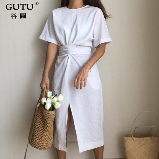[GUTU] 2018 Summer  New Solid Color Loose Round Neck Natural Waist Vintage Split The Fork Fashion Women Dress E4100