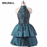 2018 Vintage Homecoming Dresses Ball Tiered Taffeta Beading Crystal Mini Plus Size Custom Made Graduation Gowns
