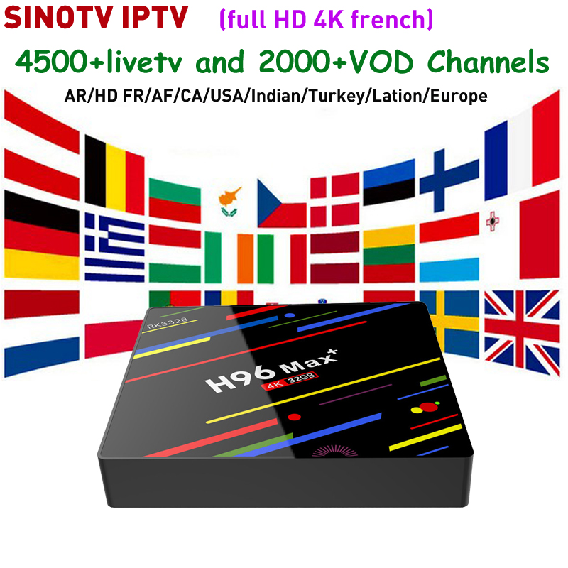 Boîte indienne IPTV H96 MAX + Android 8.1 TV Box 4G + 32G plus SINOTV pour 4 k HD France IP TV et arabe europe canadienne allemagne italie-in Décodeurs TV from Electronique    1
