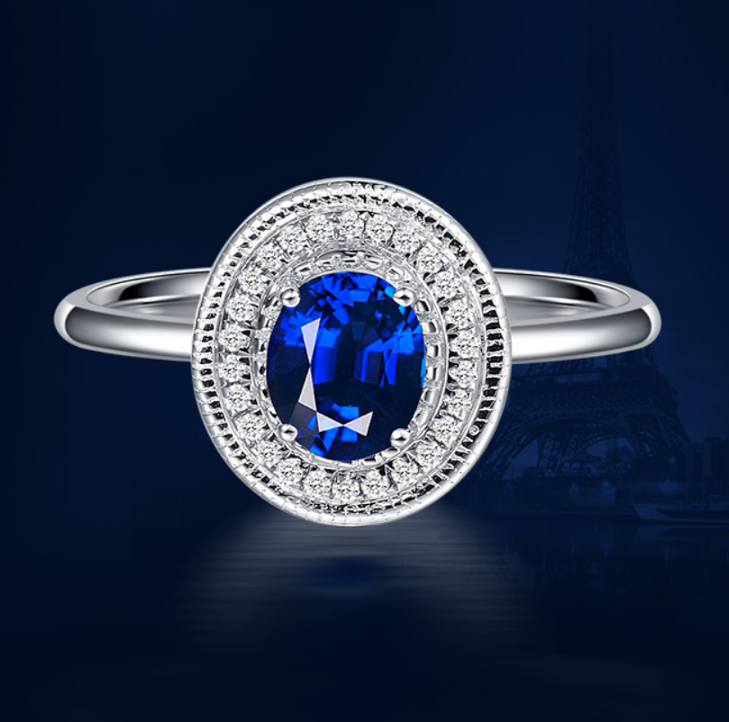 0.7 carat pure 925 silver ring sapphire jewelry tanzanite man made diamond ring for women US size from 4.5 to 9 (LA)
