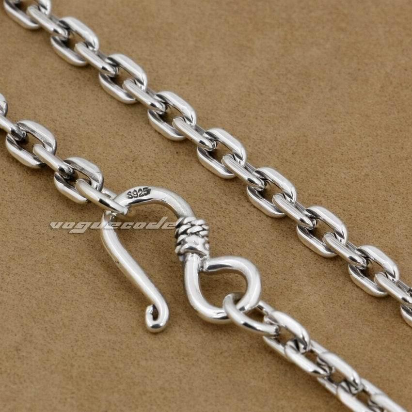 4mm chaîne à maillons carrés 925 pendentif en argent Sterling collier assorti 8L010