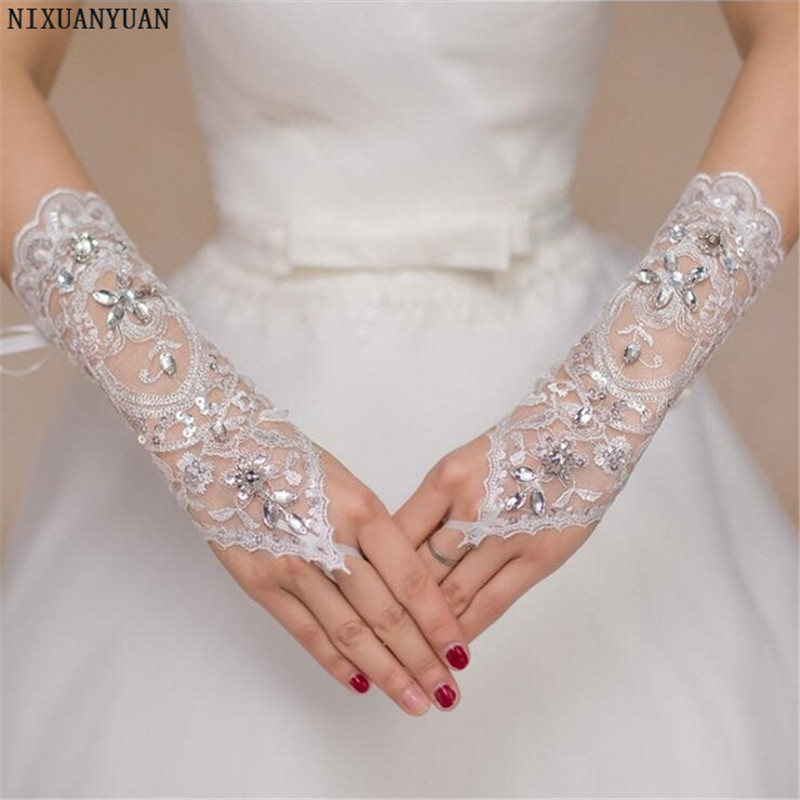 NIXUANYUAN Fingerless Lace Wedding Gloves For Bride Beaded Crystal Bridal Gloves Women 2020 Free Shipping