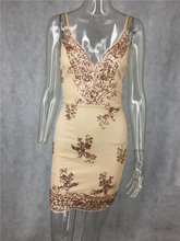 Bonnie Forest 2018 Summer Mini Dress Womens Sexy Gold Sequin Dress  Champagne Twinkle Sequin Overlay Dress 5969a4f3b64b