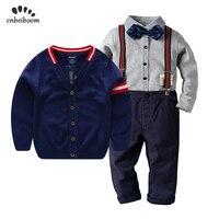 Boy clothing 3pcs sets 2 6 year Sweater coat + children tie bow shirts + Bib pants gentleman suit 2019 new spring winter clothes