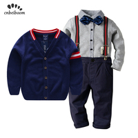 Boy clothing 3pcs sets 2 6 year Sweater coat + children tie bow shirts + Bib pants gentleman suit 2019 new spring winter clothes
