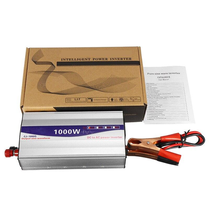 Noir 1 Set LED affichage 1000 W onde sinusoïdale Pure onduleur 12 V/24 V/48 V à 220 V convertisseur transformateur alimentation - 5