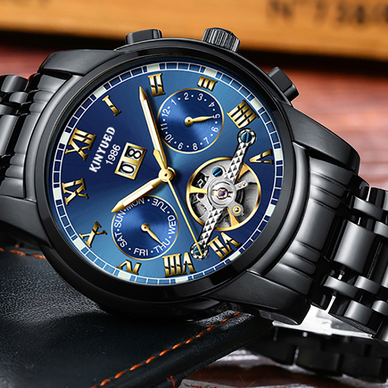 KINYUED Stainless Steel Mechanical Wrist Watches Skeleton Tourbillon Automatic Watch Men Black Gold Luminous Male Clock