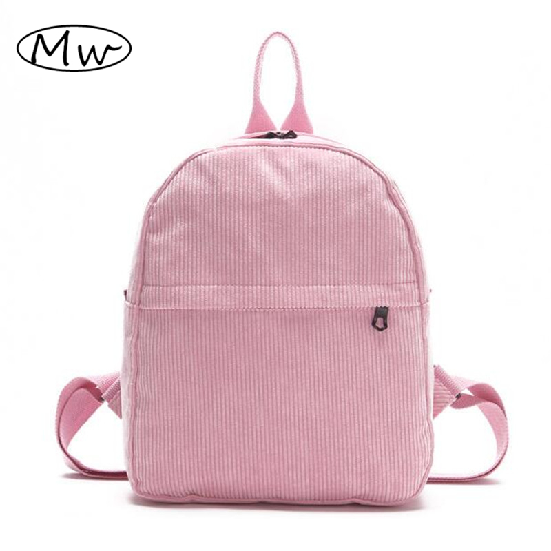 Solid Sweet Pink Corduroy Backpack Women Small Travel Bag School Bags For Teenager Girls Book Bag Shoulder Bag Rucksack Mochila