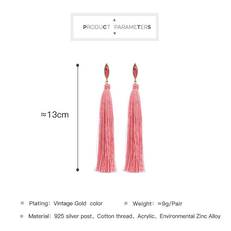 KISS ME Women Long Earrings Ethnic Style New Red Cotton Thread Fringe Tassel Earrings Fashion Jewelry