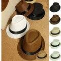 Модные Шляпы для Женщин Fedora Шляпа Бандитский Cap Sun Пляжа Лета Соломы Панама Hat с Ribbow Группа Sunhat