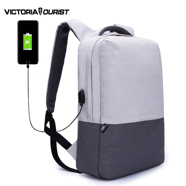 VICTORIATOURIST 15.6 inch laptop backpack men/fashion usb backpack women/super light school bags for teenagers/V810 gray