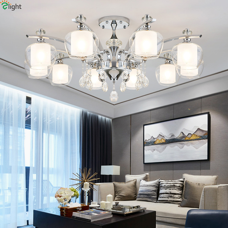 Modern Lustre Crystal Led Chandeliers Lighting Chrome Metal Living Room Led Pendant Chandelier Lights Dining Room Hanging Lamp|Chandeliers| |  - title=