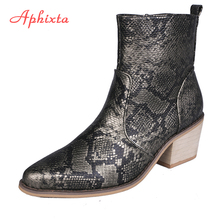 Aphixta Ankle Boots Woman Snake Print Cross-tie Zipper Hoof High Heels Short Boots Pointed Toe Winter Boots Shoes Woman Shoe sestito woman embroidery rhinestone decorated ankle boots ladies pointed toe sweety bowtie high heels shoes woman zipper shoes