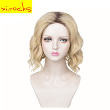 3555 Xi. Rocks Wig Brown Synthetic Curly Wigs For Women Ombre Light Blonde Short African American Natural 13 Inches Trend
