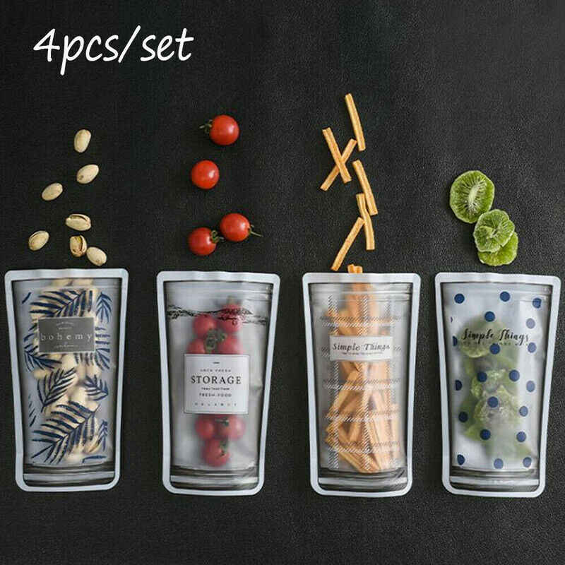 Reusable Seal Silicone Food Fresh Bag Vacuum Sealer Fruit Meat Storage Bags 4pcs