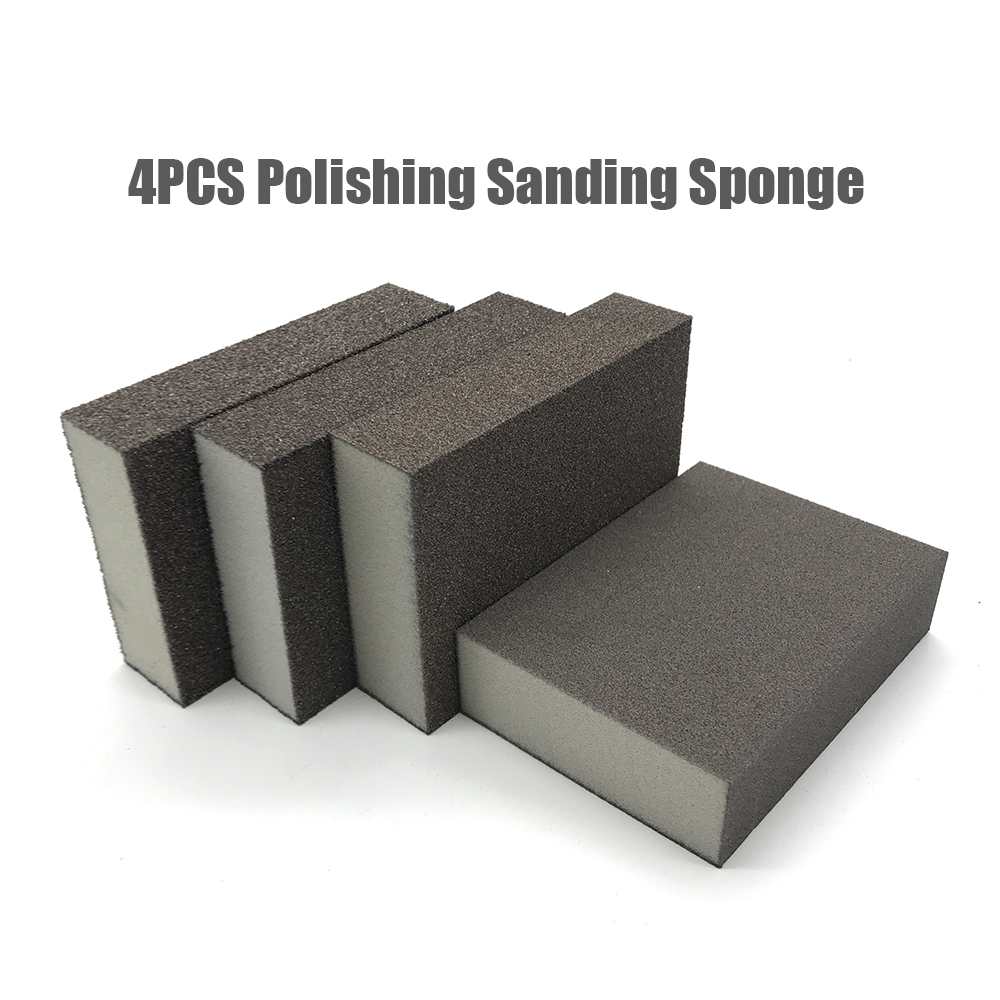 4pc Polishing Sanding Sponge Block Pad Set Sandpaper Assorted Grit 60 120 240 400