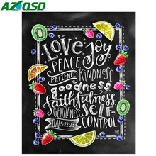 AZQSD Diamond Painting Blackboard Picture Of Rhinestones Mosaic Full Display Embroidery Scenery Home Decoration