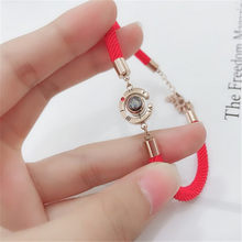 Charm Red Rope Women I Love You 100 Language Bracelet Steel Rose Gold Roman Numerals Memory Bracelet For Lover Gifts Jewelry(China)