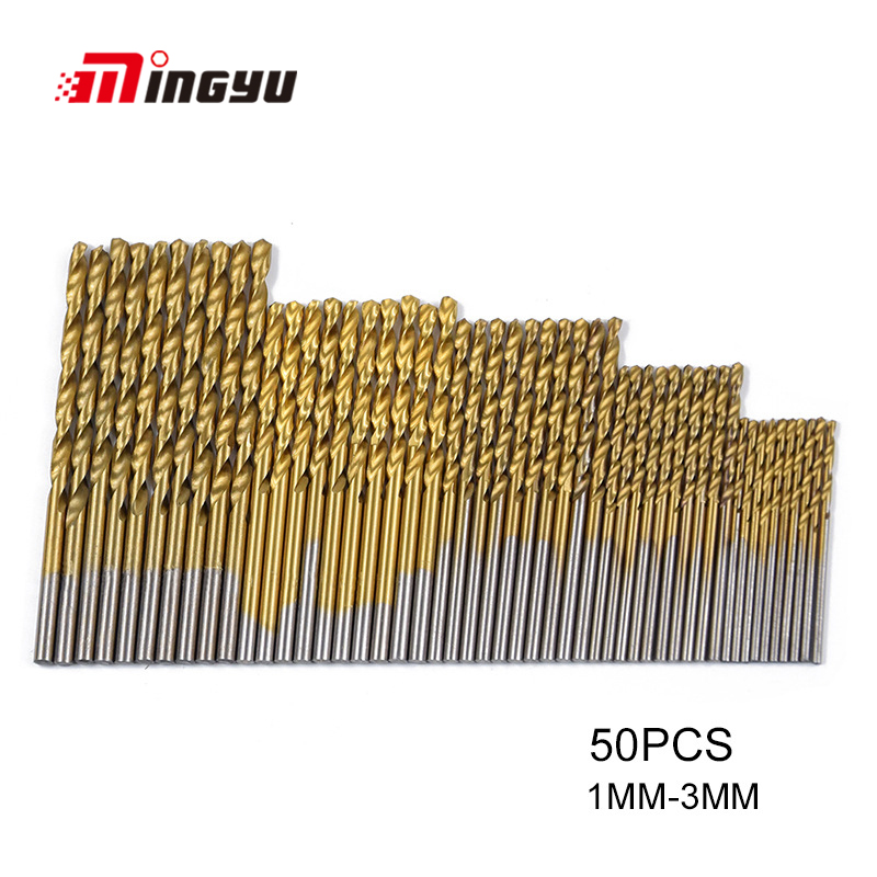 50 Pcs 1/1.5/2/2.5/3 Mm Twist Drill Bit Set Round Shank High Steel Woodworking Metalworking Drill Bit Set Titanium Coated Drill Colours Are Striking Drill Bits Hand & Power Tool Accessories