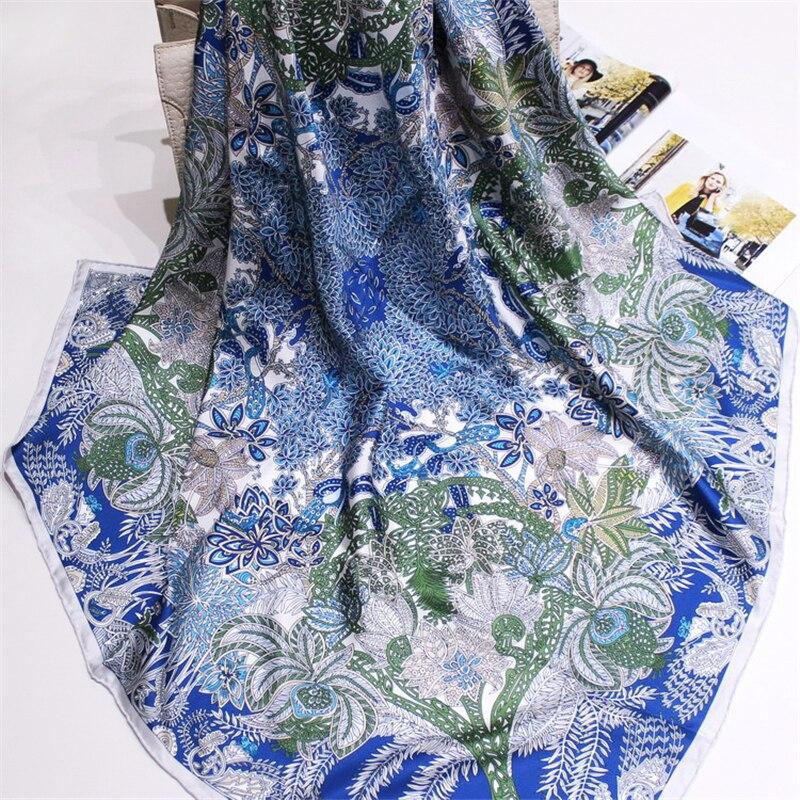 100% silk women fashion print square scarf cape 90x90cm