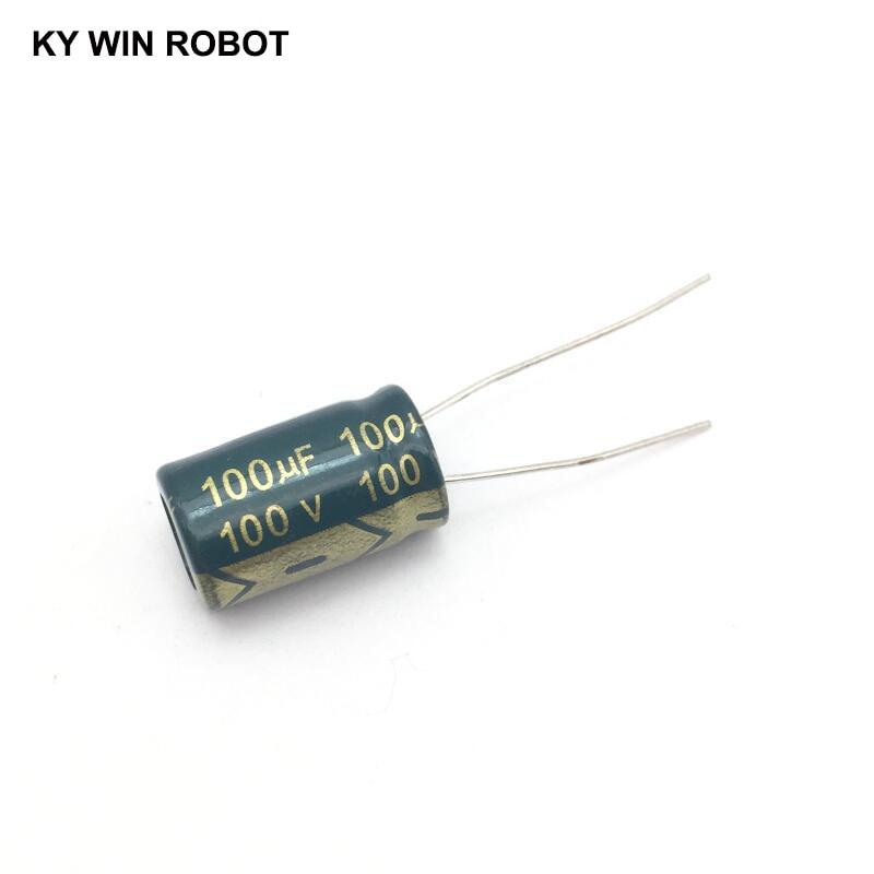 10 Pcs Aluminum Electrolytic Capacitor 100 UF 100 V 10 * 17 Mm Frekuensi Tinggi Radial Electrolytic Kapasitor