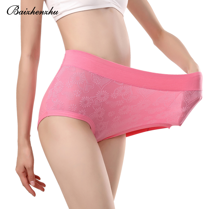 Baizhenzhu cotton women underwear plus size Lace jacquard Soft and comfortable 100%Cotton ladies panties high waist