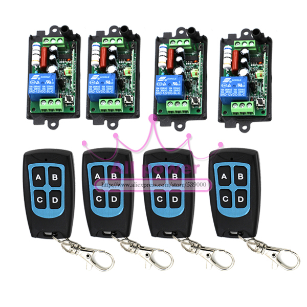 ФОТО Portable AC110V 220V 10A 315MHZ 1 Channel Wireless Remote Control Switch Relay Learning Code 4 Transmitter 4 Receiver Per Set