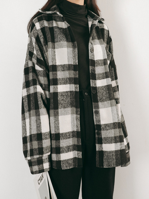 7ed5233f96e Black White Check Plaid Flannel Shirt Women Oversize Boyfriend Cotton Shirts  Fall Winter