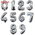 1 шт. 16, 32 дюйма, золотые и серебряные цифры, надувные воздушные шары, праздничные товары для украшения свадеб и дней рождения
