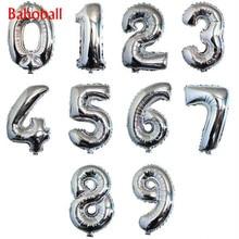 1PC 16 32 pouces chiffres feuille or et argent numéro ballon flotteur gonflable Air balles pour fête d'anniversaire mariage décoration fournitures