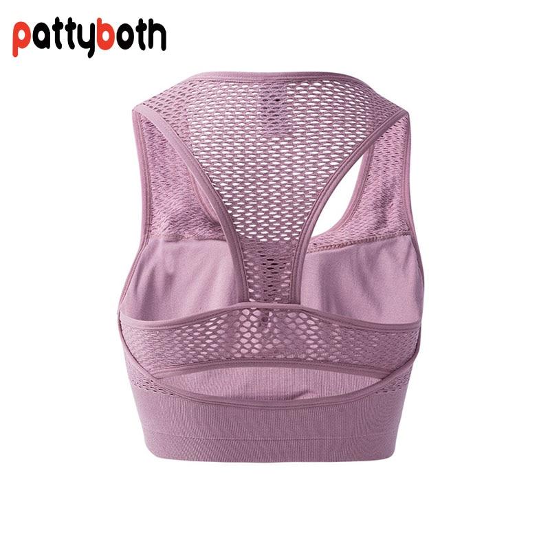 2018 Mesh Fitness Yoga Push Up Sports Bra for Womens Gym Running Padded Tank Top Vest Underwear Shockproof Strappy Sport Bra Top