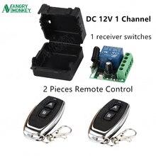 433 Mhz Telecomando Universale Senza Fili di Controllo Interruttore DC 12V 1CH relè Modulo Ricevitore e 2pcs Trasmettitore RF 433 mhz Telecomandi E Controlli Da Remoto