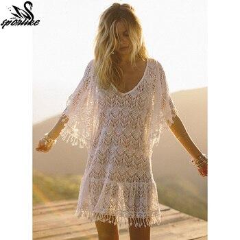 New Arrivals Sexy Beach Cover up White Crochet Tassel Robe de Plage Pareos for Women Swim Wear Saida de Praia Beachwear Coverups