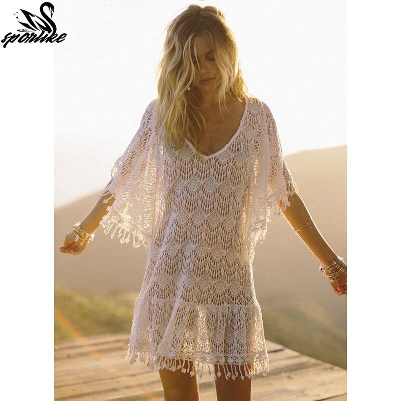 new arrivals sexy beach cover up white crochet tassel robe de plage pareos for women swim wear