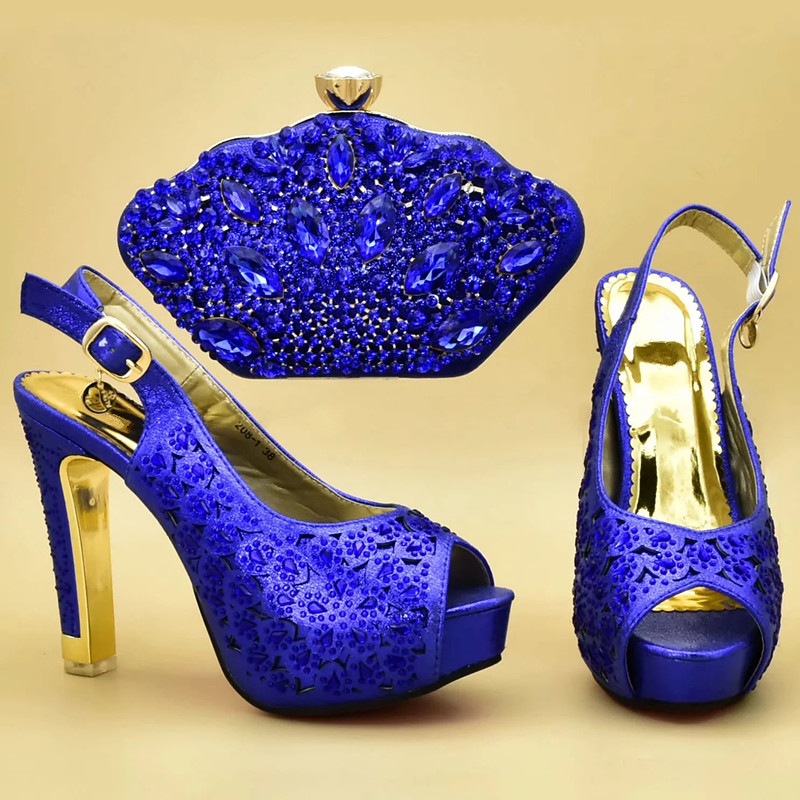 Italiano Con 2018 Zapatos Fiesta Bolsos Decorado De wine rosado Bolsa Africana Diamantes A Juego Imitación Y Establece oro Azul xARx4qwr